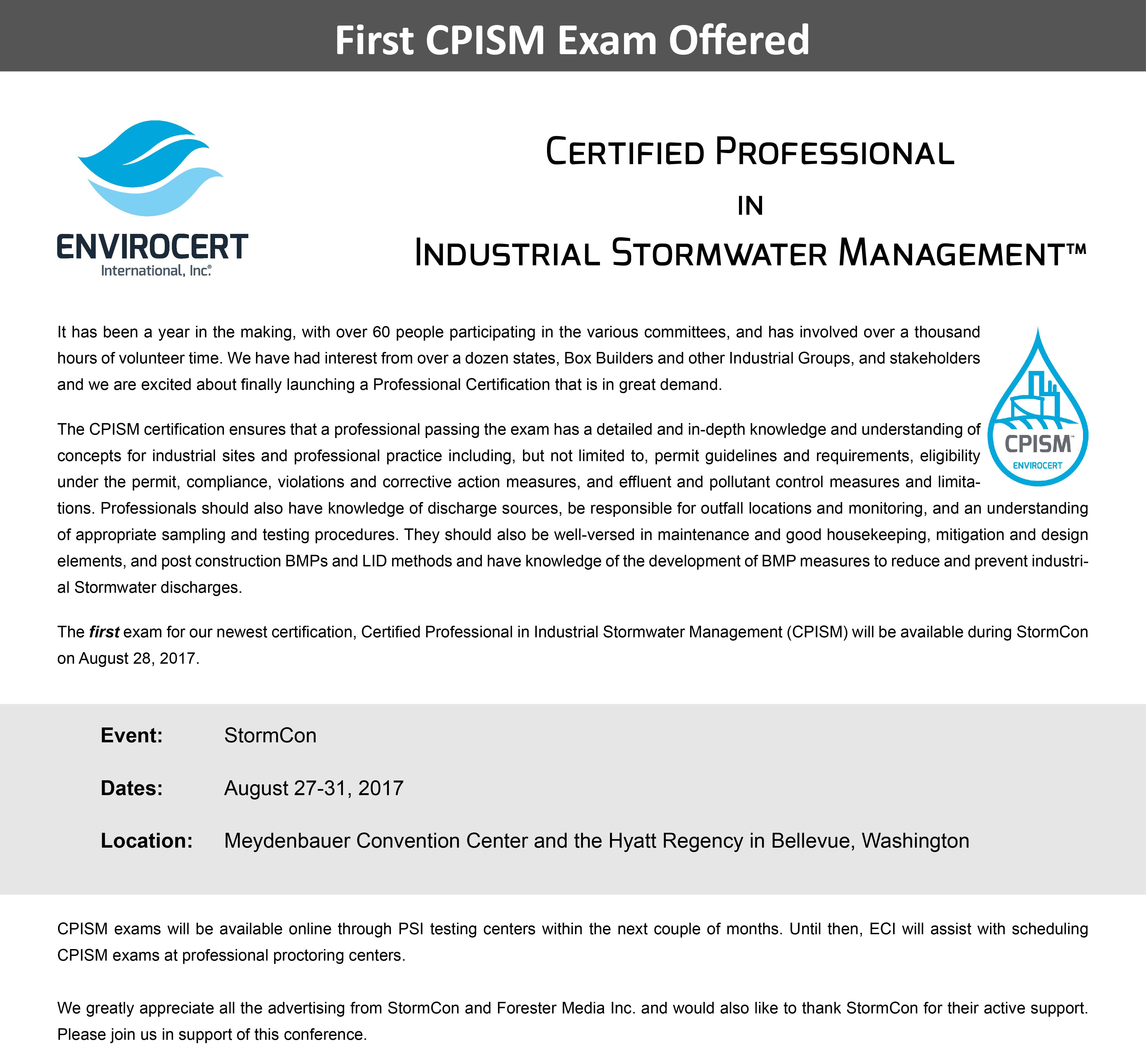 Cpism Exam Offered At Stormcon 2017 Envirocert International Inc